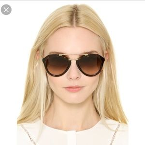 Prada Black/Gold Aviator Sunglasses